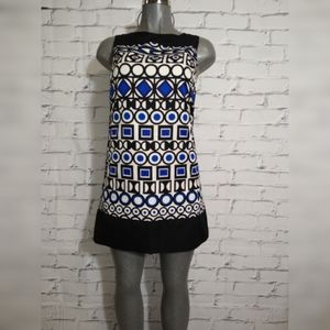 Mark A-line geometric print mini dress.